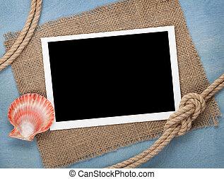 fénykép keret, tiszta, odaköt, kagyló, hajó
