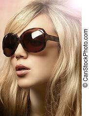 fénykép, leány, napszemüveg