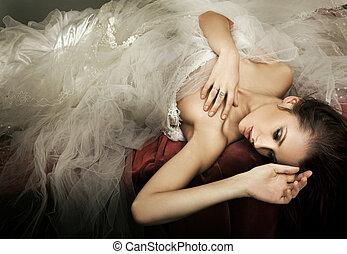 fénykép, mód, hölgy, romantikus, fiatal