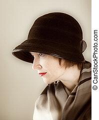 fénykép, mód, nő, retro