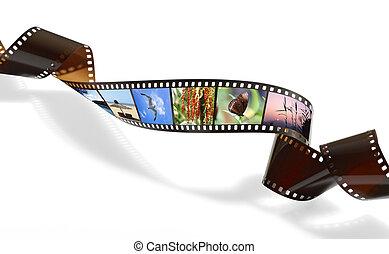 fénykép, meggörbült, feljegyzés, video, vagy, film