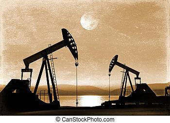 fénykép, olaj, öreg, körömcipő, dolgozó