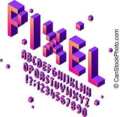 fénykép, szerencsejáték, isometric, állhatatos, művészet, abc, árkád, kocka alakú, felirat, betűtípusok, nyomdai, aláír, játék, vektor, retro, font., pixels, számok