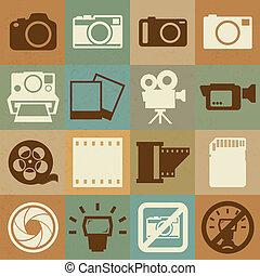 fényképezőgép, állhatatos, video, retro, ikonok