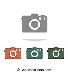 fényképezőgép, fehér, ikon, elszigetelt, háttér