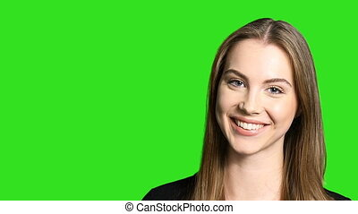 fényképezőgép, mosolyog woman, closeup