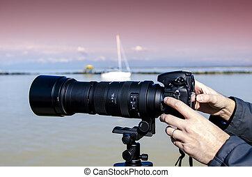 fényképezőgép, noha, zoom.