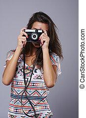 fényképezőgép, retro, bizonytalan arc