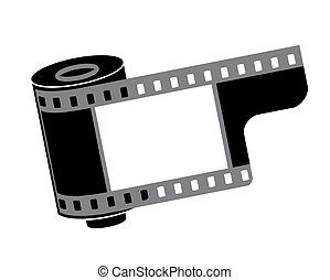fényképezőgép, tekercs, vektor, film, ábra