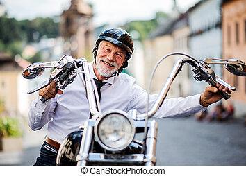 fényképezőgép., város, üzletember, idősebb ember,...