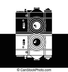 fényképezőgép, vektor, ábra