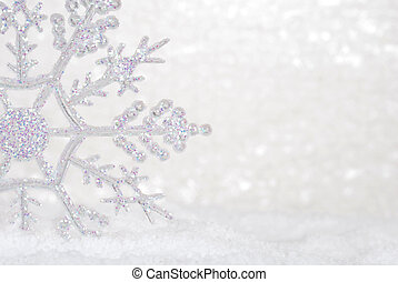fénylik, hópehely, alatt, hó