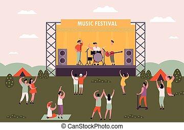 férfiak és nők, emberek, tánc, -ban, zene, fesztivál
