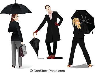 férfiak és nők, noha, esernyő, silhouettes., vektor