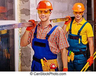 férfiak, alatt, építő, uniform.