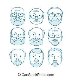 férfiak, arc, hím, emberi