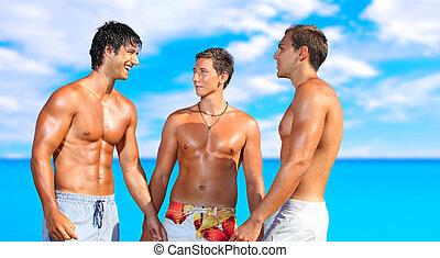 férfiak, bágyasztó, a parton