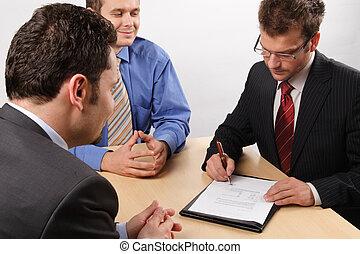 férfiak, bánás, negotiations., ügy, három