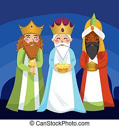 férfiak, bölcs, három