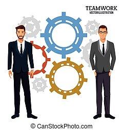 férfiak, bekapcsol, csapatmunka, közös ügy
