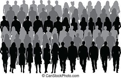 férfiak, emberek, nők, -, csoport