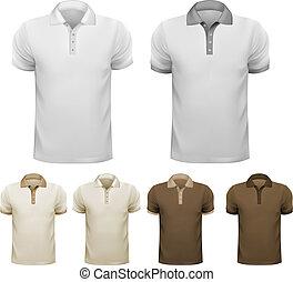 férfiak, fekete, t-shirts., ábra, template., vektor, tervezés, fehér