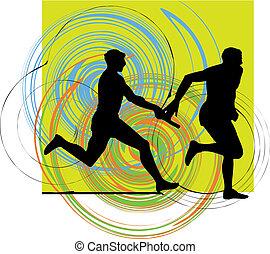 férfiak, futás, vektor, ábra