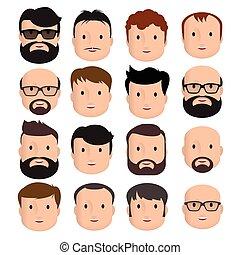 férfiak, hím, emberi arc