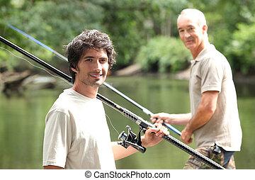 férfiak, halászat, -ban, egy, tó