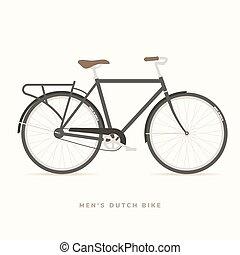 férfiak, klasszikus, holland, bicikli, vektor, ábra