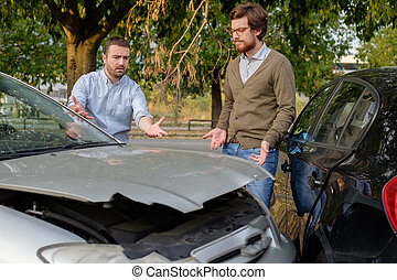 férfiak, Megvitat, autó, után, két, baleset, út
