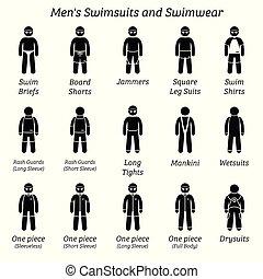 férfiak, női fürdőruha, és, swimwear.