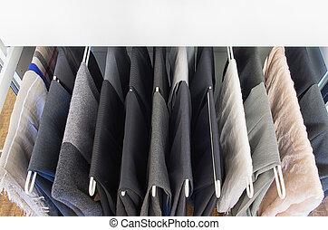 férfiak, nadrág, képben látható, egy, fém, evez, ki, állvány