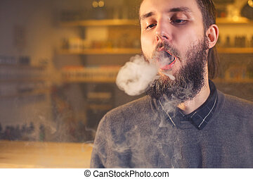 férfiak, noha, szakáll, vaping, és, elengedés, egy, felhő, közül, vapor., close-up.