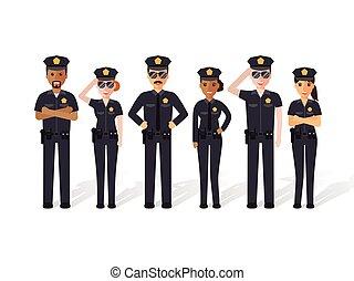 férfiak, rendőrség, nők