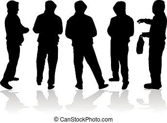 férfiak, silhouettes.