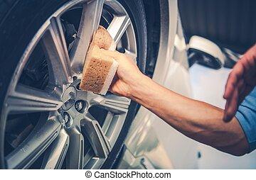 férfiak, takarítás, autó, ötvözet tol