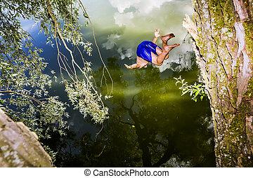 férfiak, ugrál, alatt, egy, tó, noha, egy, bungee ugrás