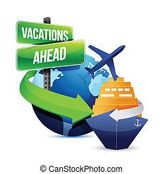 férias, à frente