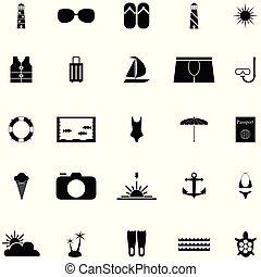 férias, ícone, jogo