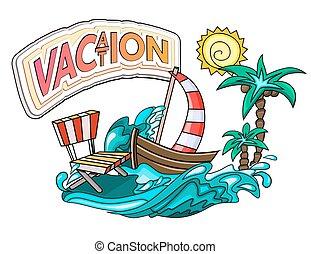 férias, caricatura, estilo