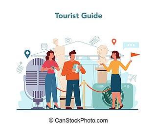 férias, cidade, história, turistas, guia, excursão, concept., escutar