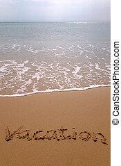 férias, em, areia, vertical.
