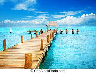 férias, em, trópico, paradise., jetty, ligado, isla mujeres, méxico