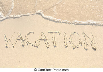 férias, escrito, em, areia, ligado, praia