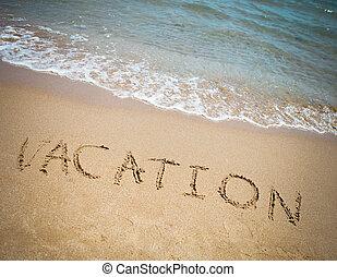 férias, escrito, em, um, arenoso, praia tropical