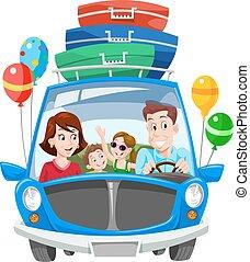 férias, família, ilustração