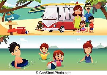 férias familiar, praia