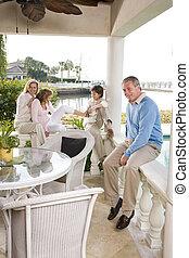 férias familiar, relaxante, terraço