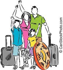 férias familiar, vetorial, ilustração